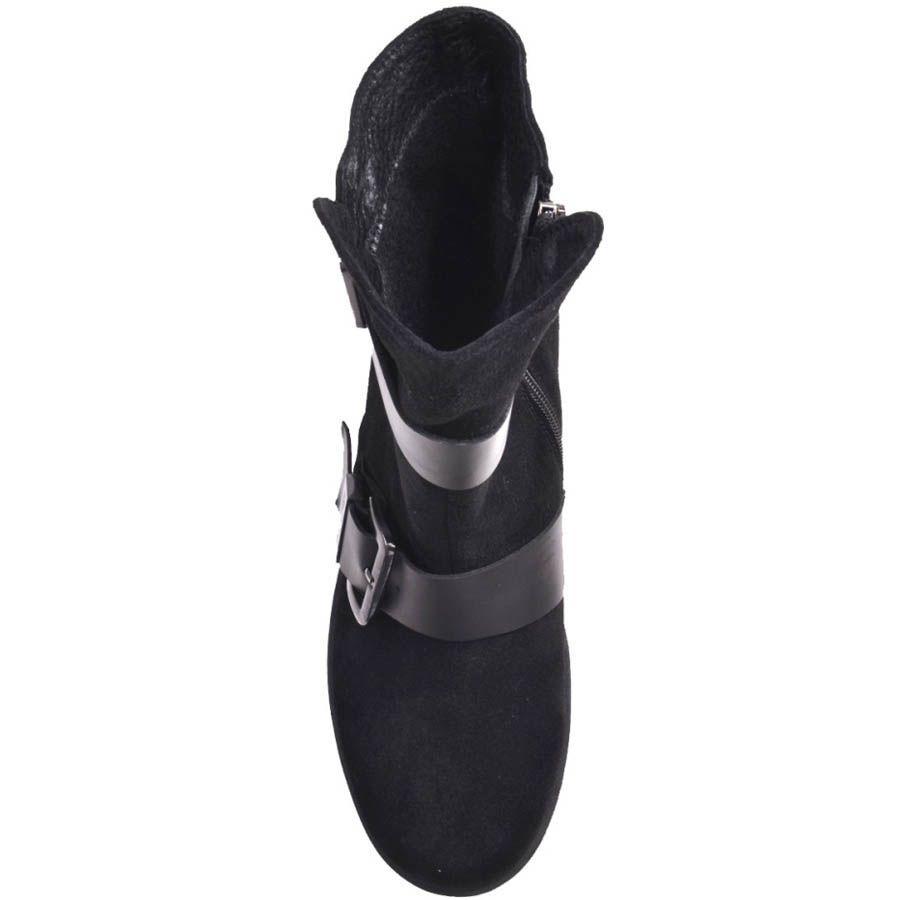 Ботинки Prego замшевые черного цвета с толстым каблуком и пряжками
