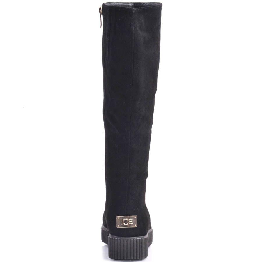 Сапоги Prego осение замшевые черного цвета с утолщенной подошвой и металлической вставкой на пятке
