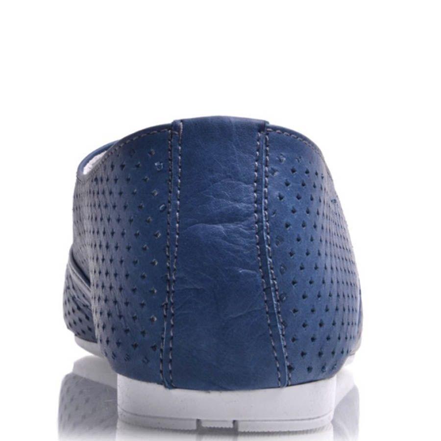 Туфли Prego женские синего цвета на шнуровке с мекой перфорацией