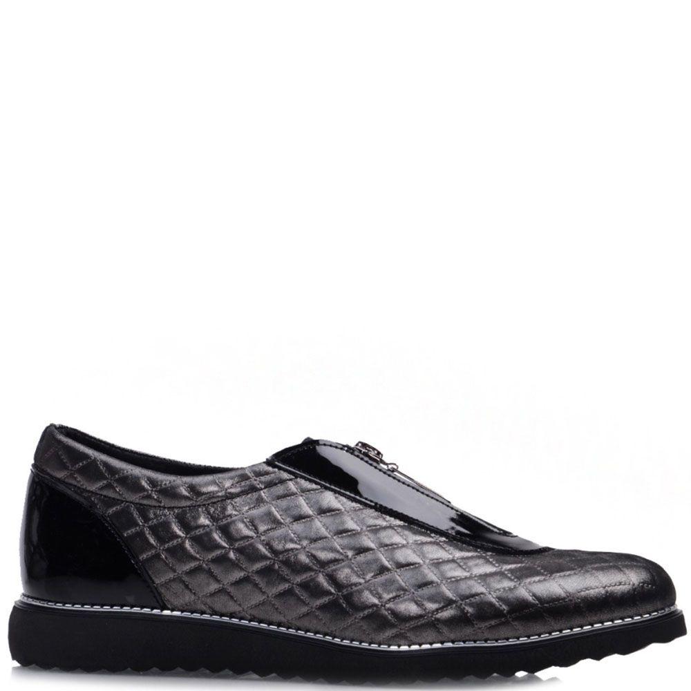 Блестящие туфли Prego из натуральной кожи черного цвета с лаковыми вставками