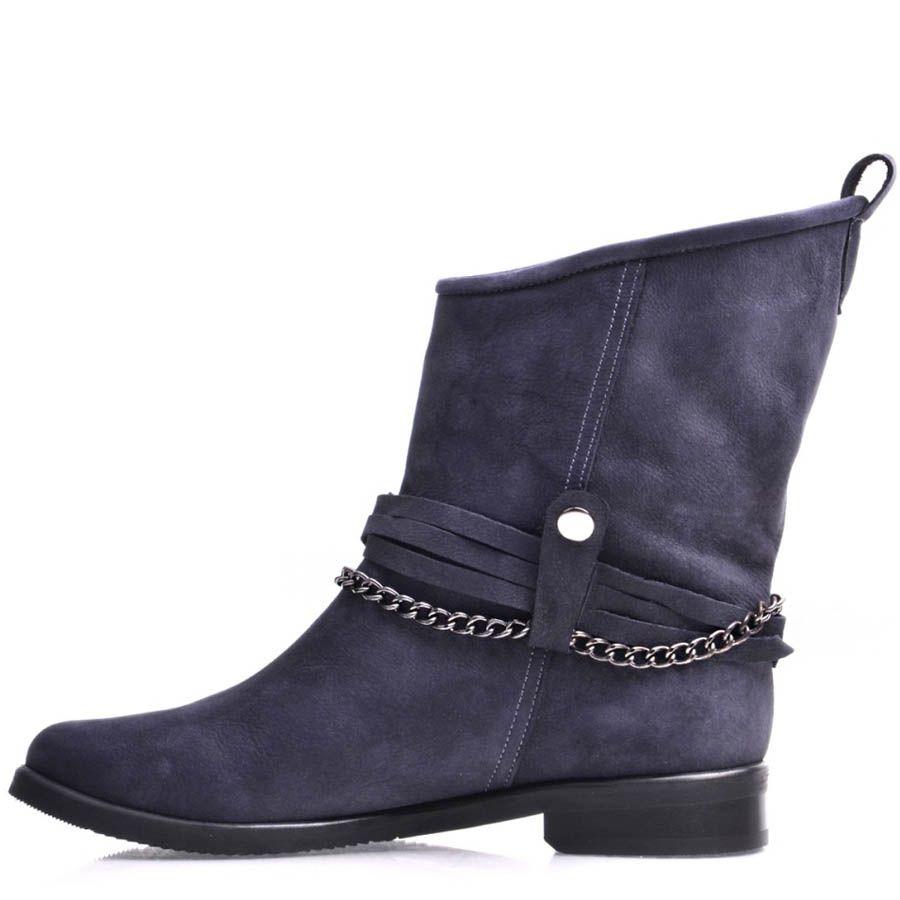Ботинки Prego женские из синего нубука с верхом по диагонали и декоративной цепочкой