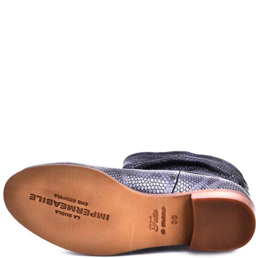 Ботинки Prego женские синего цвета с отделкой под кожу рептилии