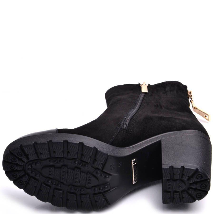 Ботильоны Prego черные замшевые с лаковым носочком