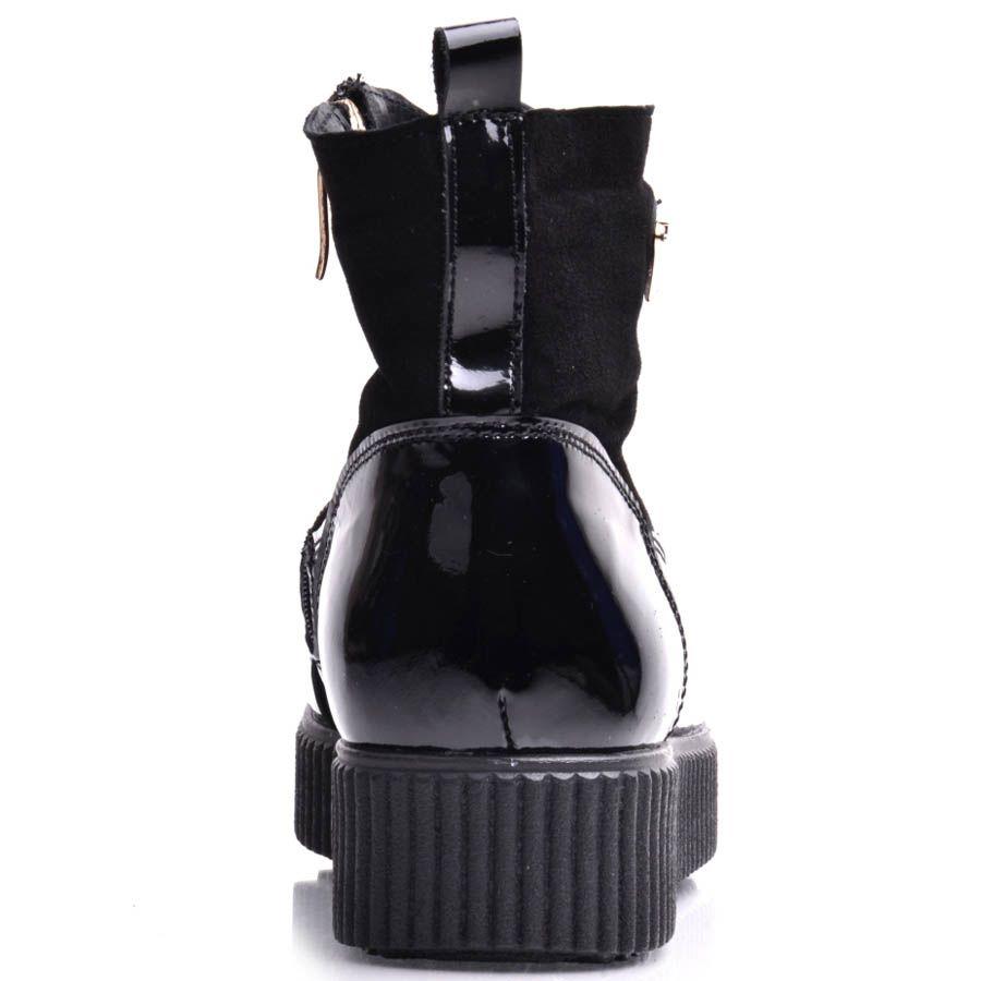 Ботинки Prego женские на широкой подошве замшевые с лаковыми вставками