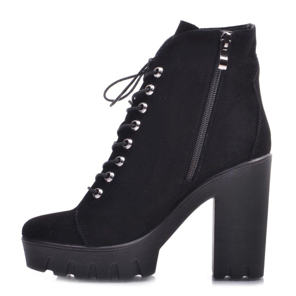 Высокие ботинки Prego из натуральной замши черного цвета на шнуровке и молнии