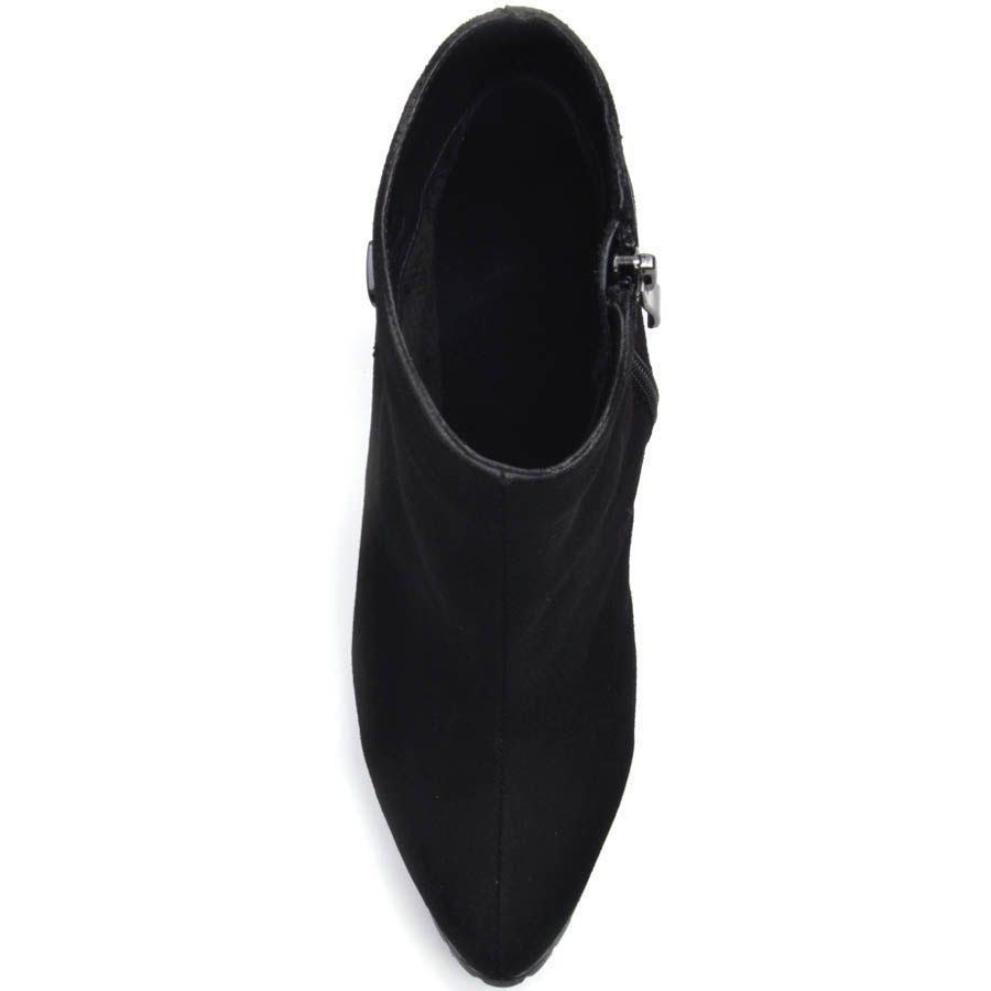 Ботильоны Prego из черной замши с узким носком на каблуке и с лаковым кожаным ремешком на пяточке