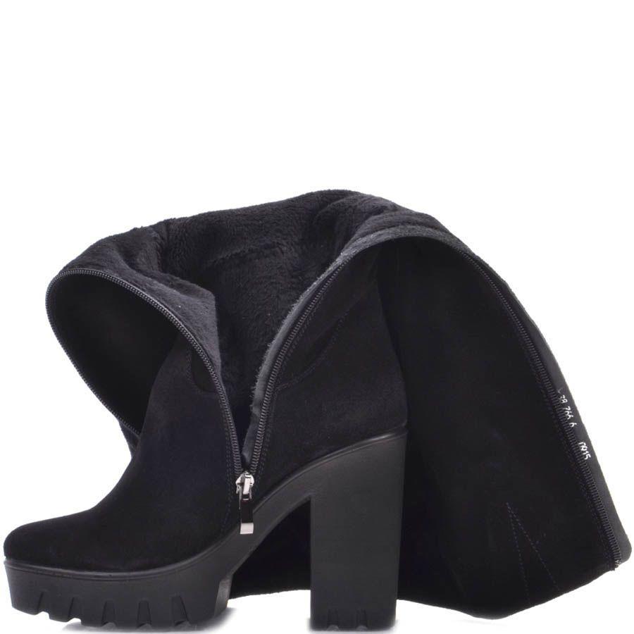 Сапоги Prego замшевые черного цвета с мягким голенищем и на высоком каблуке