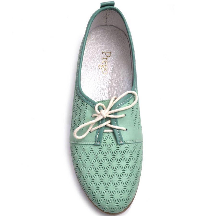 Туфли Prego зеленые с узорной перфорацией