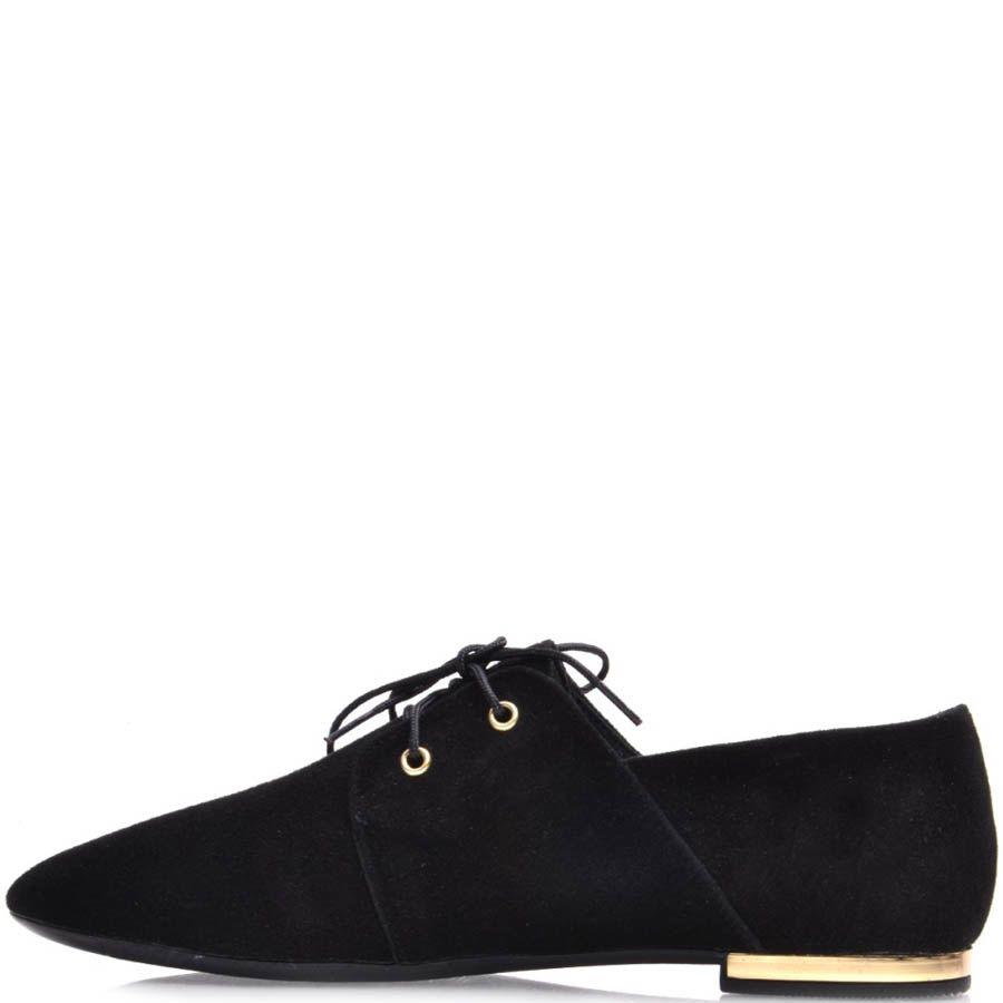 Туфли Prego женские черные замшевые с узким носком