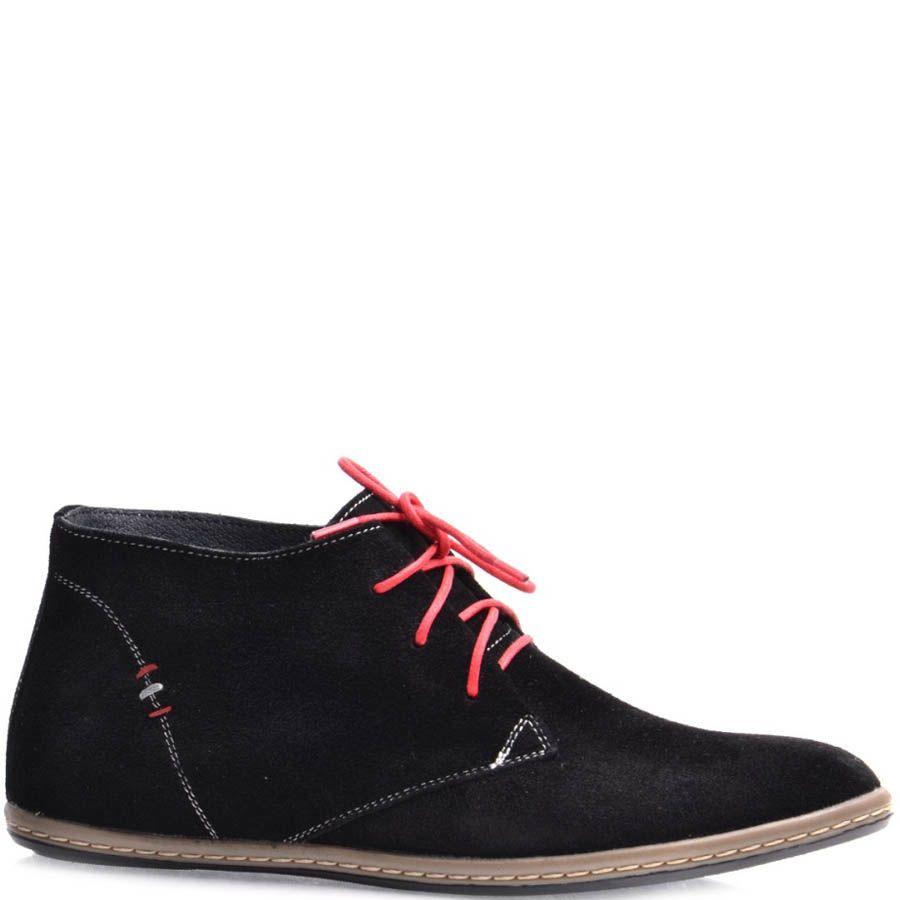 Дезерты Grado женские замшевые черного цвета с красными шнурками