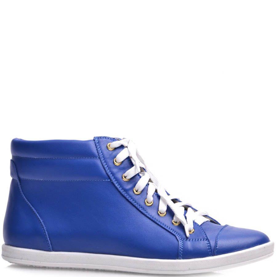 Высокие кеды Prego женские кожаные синего цвета