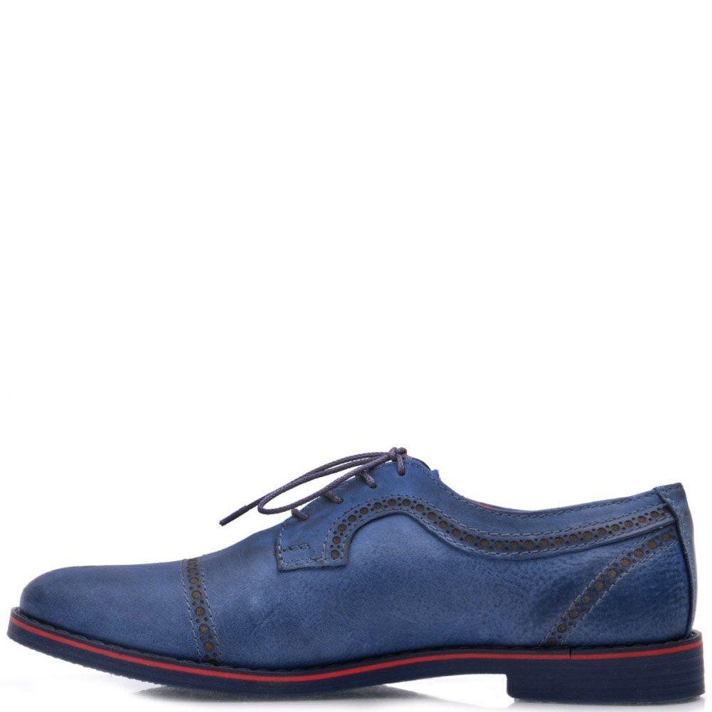 Кожаные оксфорды Prego синего цвета с тонкой красной линией вдоль подошвы