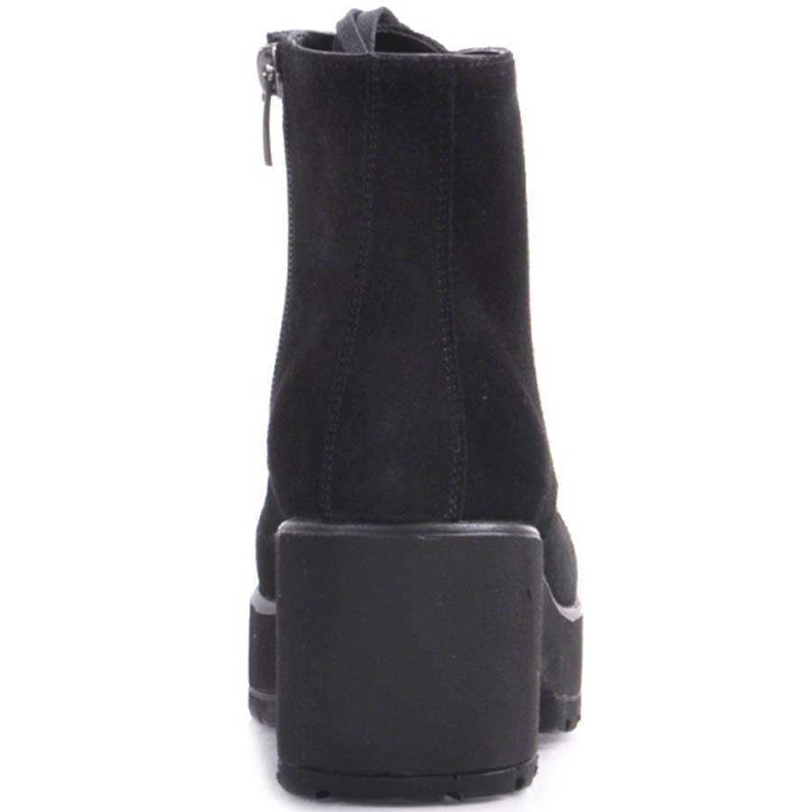Ботинки Prego черного цвета из замши со шнуровкой и швом на носочке