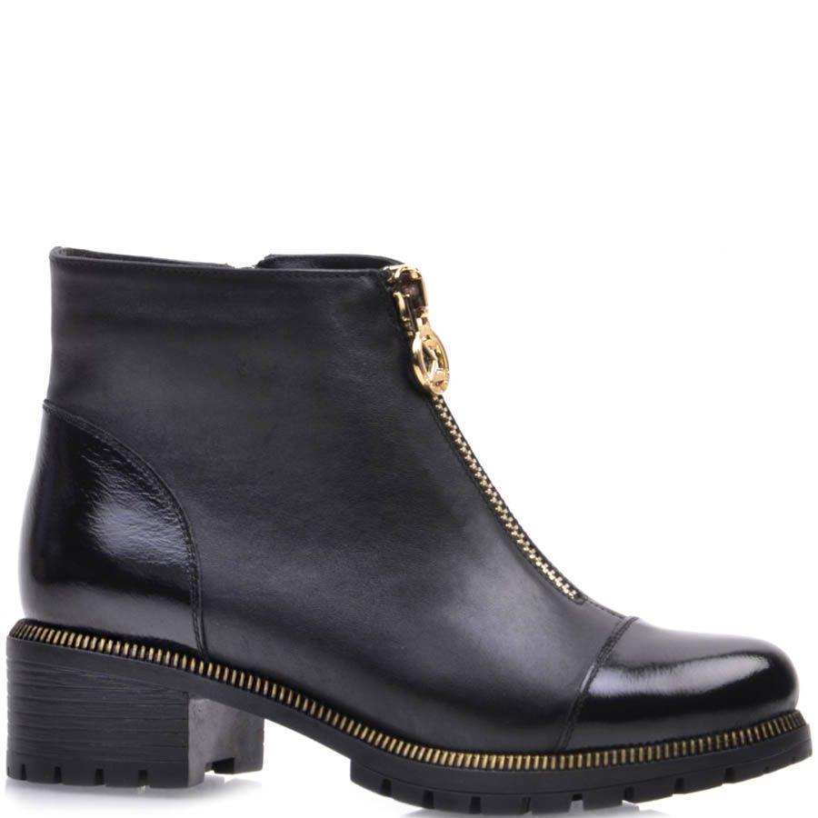 Ботинки Prego черного цвета с лаковым носкои и пяткой и с золотистой молнией