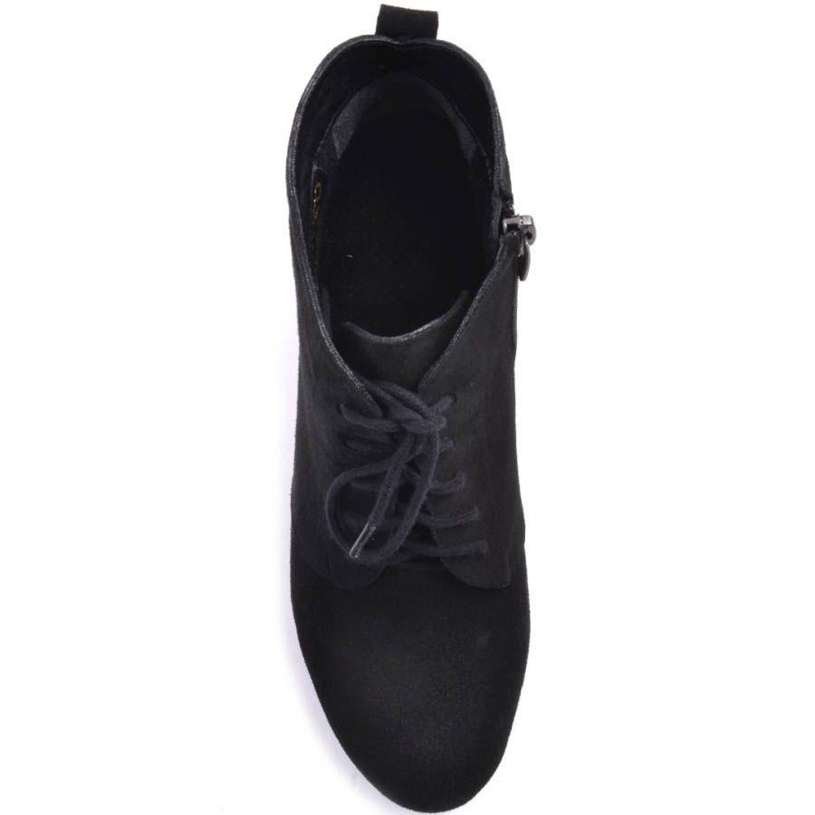 Ботильоны Prego черного цвета из замши со шнуровкой и округлым верхом