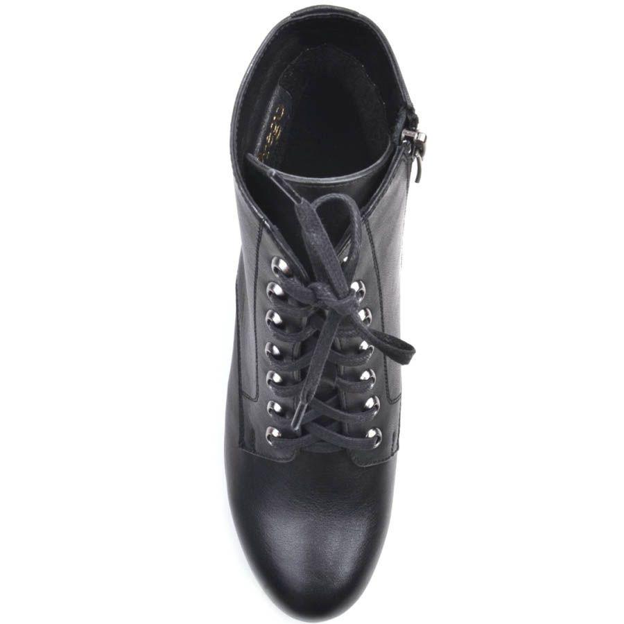 Ботинки Prego черного цвета на толстом каблуке с металлическими отверсиями для шнурков