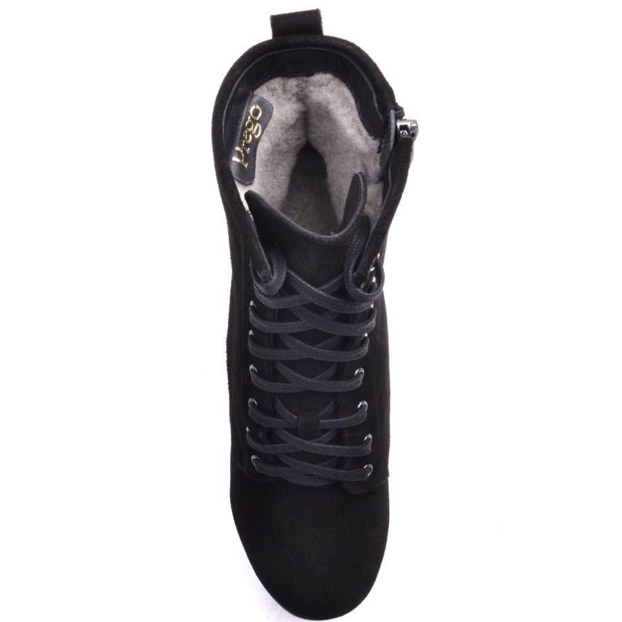 Ботинки Prego черного цвета зимние замшевые со шнуровкой и с толстым устойчивым каблуком