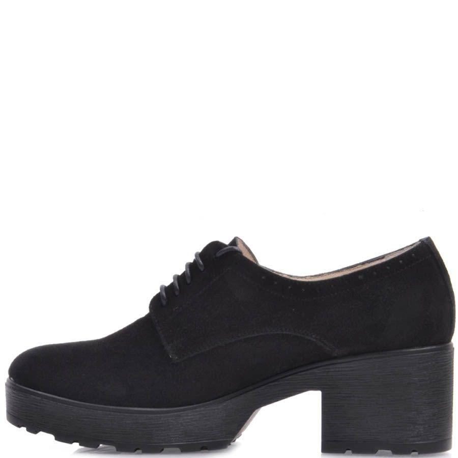 Туфли Prego замшевые черного цвета с толстым каблуком и с тонкими шнурками