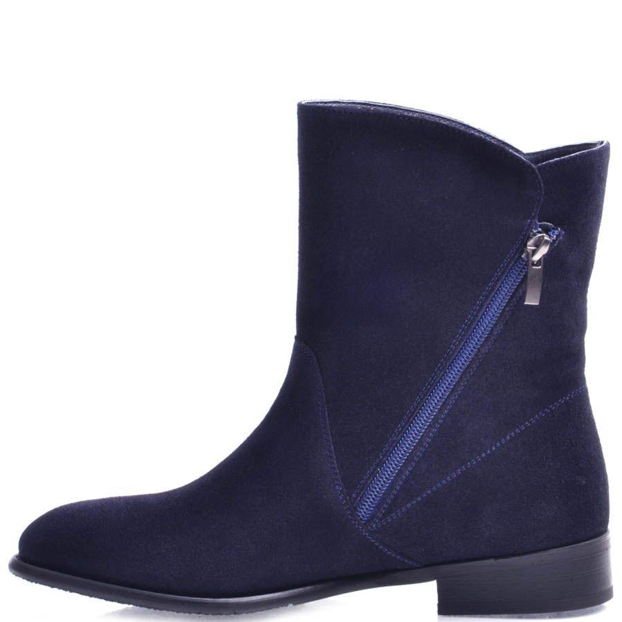 Ботинки Prego женские синего цвета замшевые с золотистой молнией