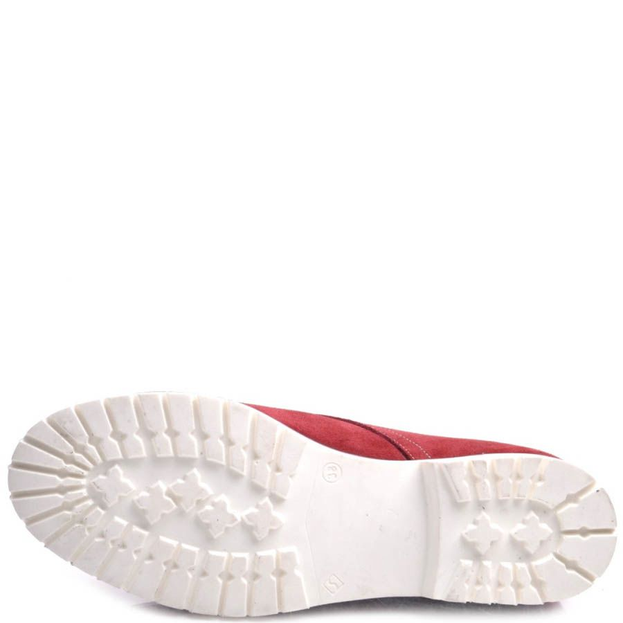 Ботинки Prego женские красные замшевые с белой подошвой