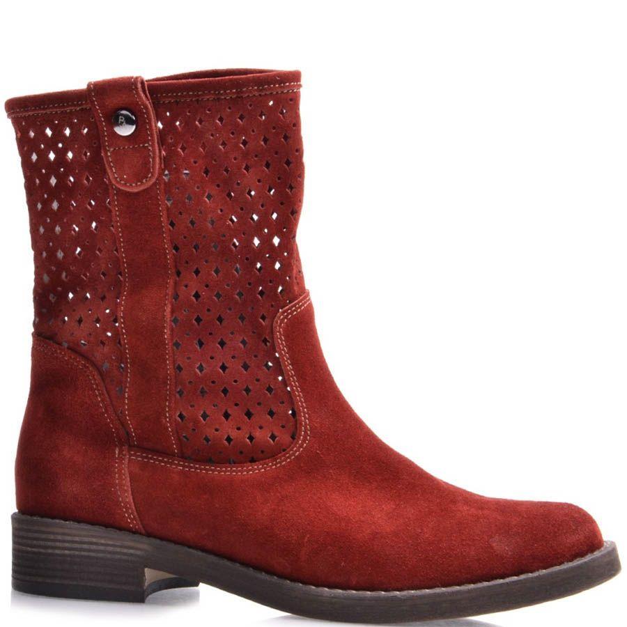 Ботинки Grado женские красного цвета с высоким перфорированным голенищем
