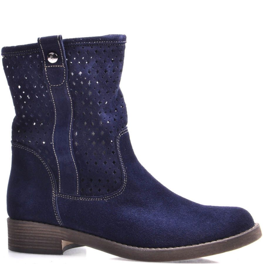 Ботинки Grado женские синего цвета с высоким перфорированным голенищем