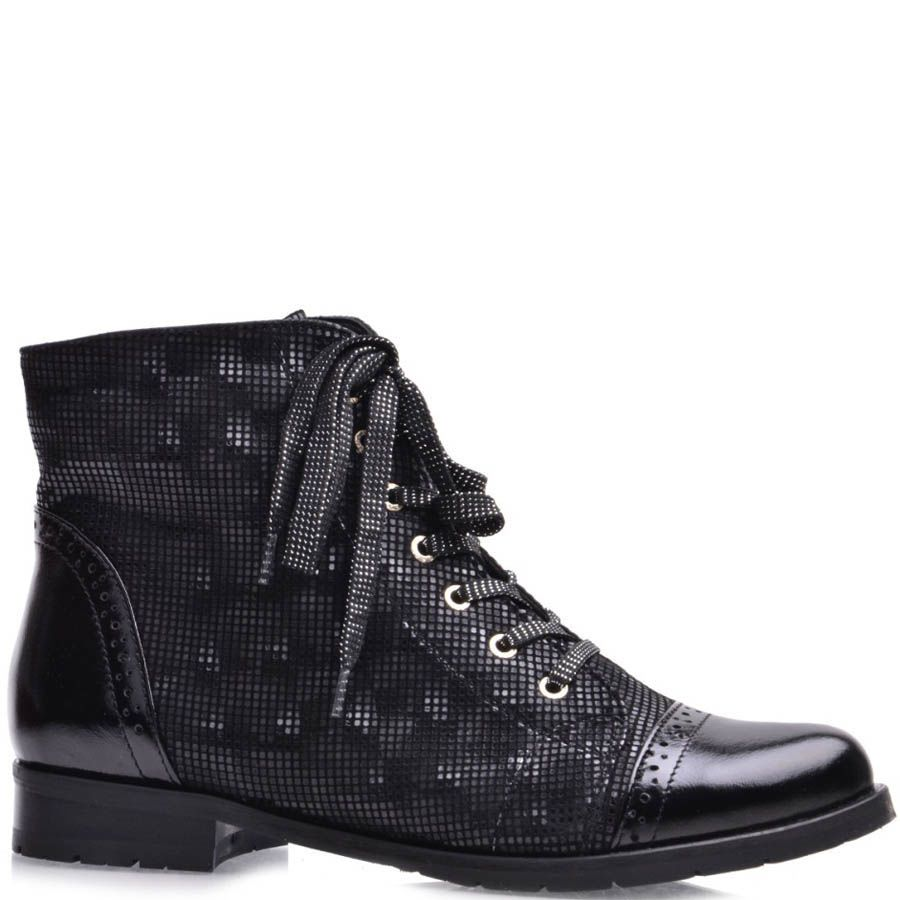 Ботинки Grado женские черного цвета с носком и пяткой из лаковой кожи