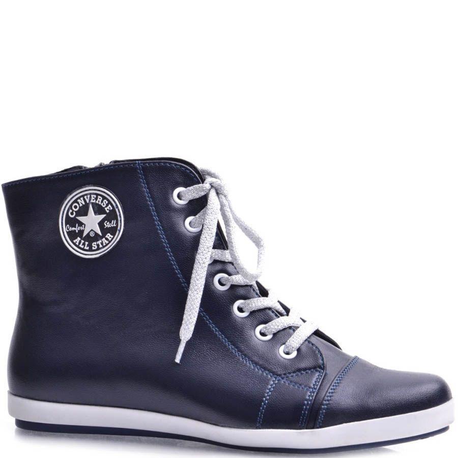 Высокие кеды Grado женские кожаные темно-синего цвета