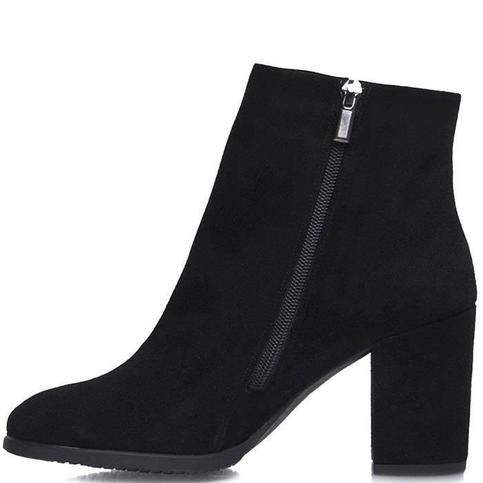 Высокие ботинки Prego из натуральной замши черного цвета