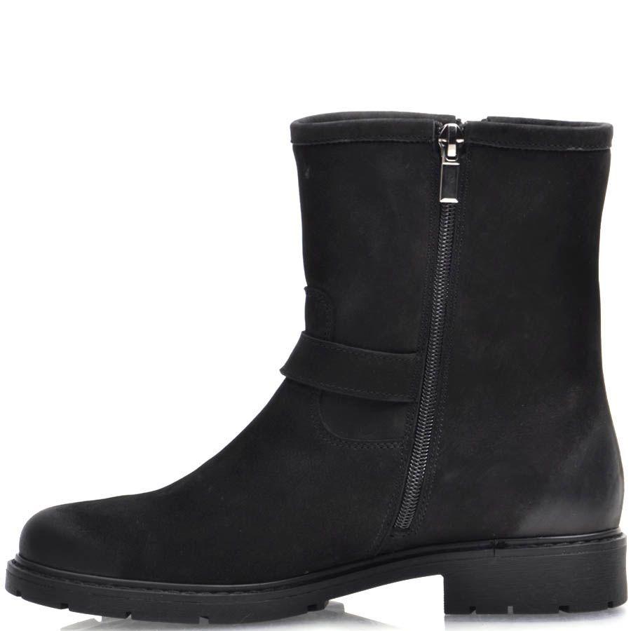 Ботинки Prego зимние из черного нубука с металлической пряжкой