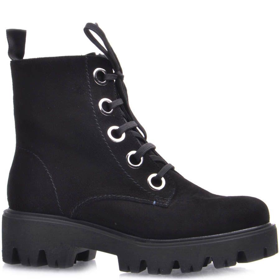 Ботинки Prego зимние на меху черного цвета из натуральной замши с рельефной подошвой