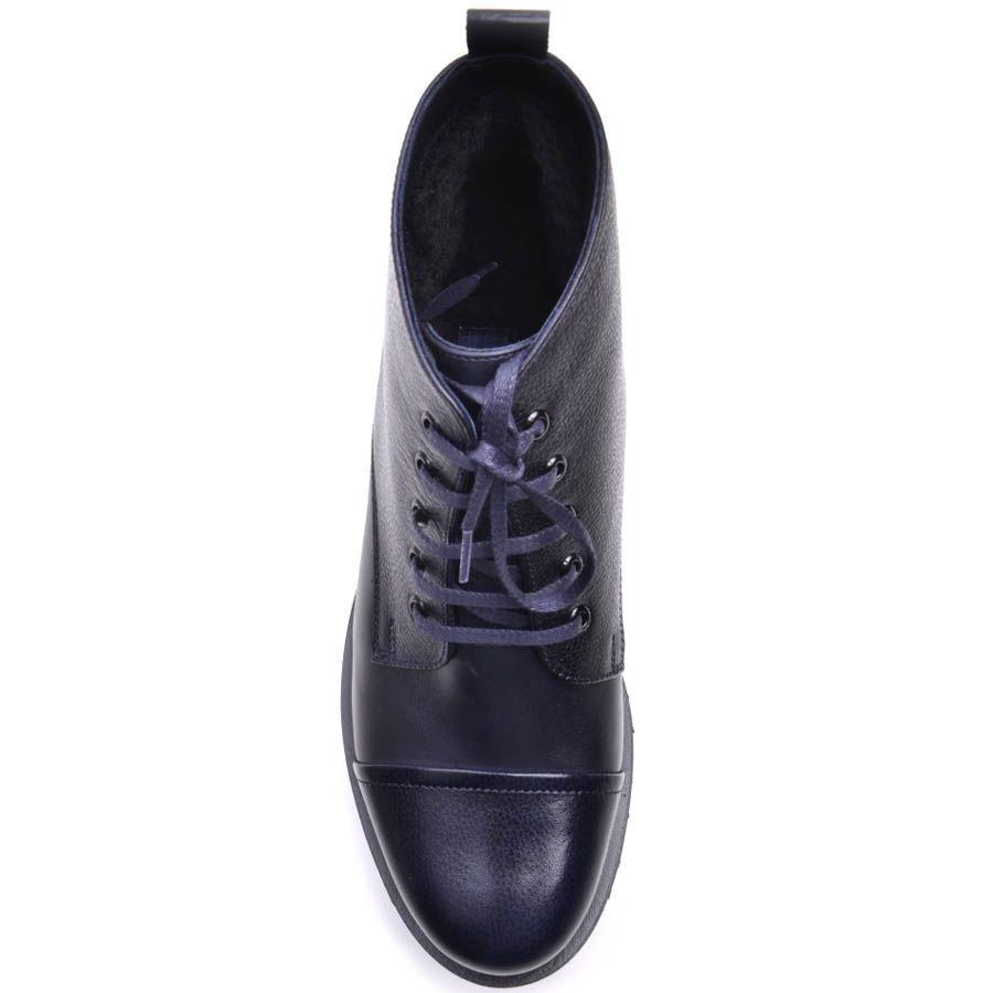 Ботинки Prego зимние на меху синего цвета на шнуровке и рельефной подошве