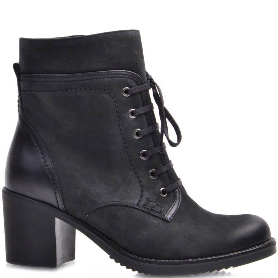 Ботинки Prego зимние из нубука на шнуровке с кожаной вставкой на пятке