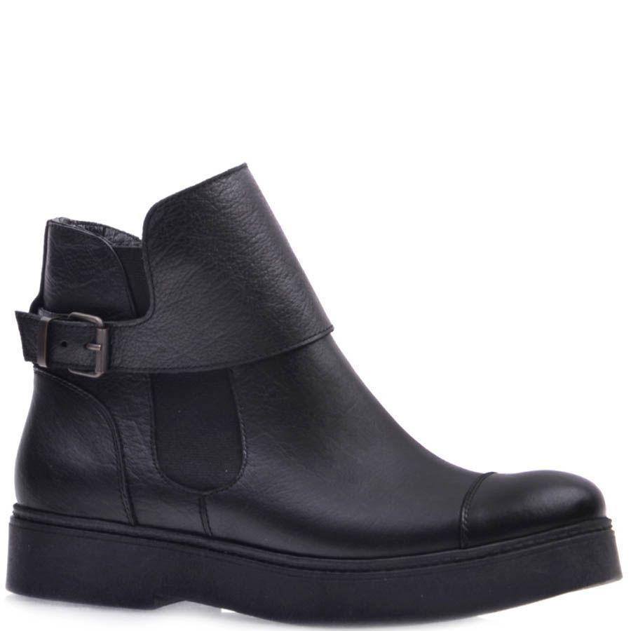 Ботинки Prego черного цвета из матовой кожи с ремешком