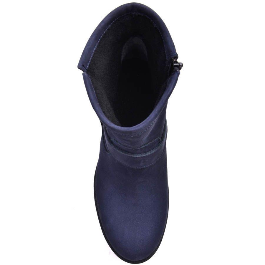 Ботинки Prego синего цвета из нубука с декоративной пряжкой
