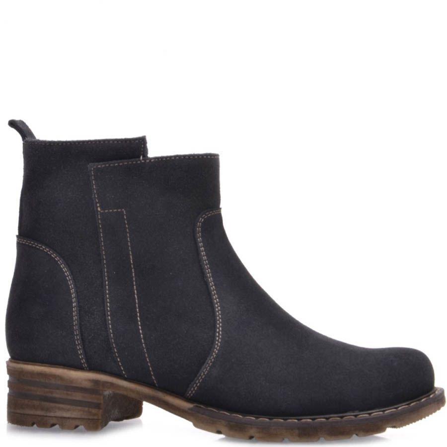 Ботинки Prego серого цвета с коричневыми строчками и подошвой