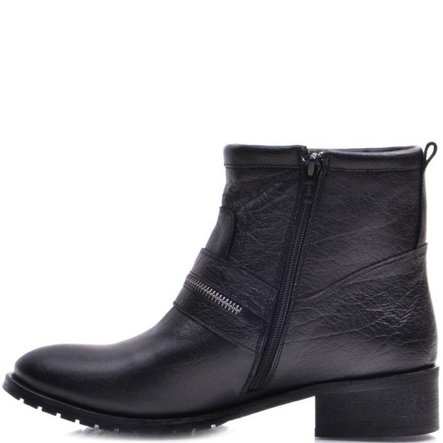 Ботинки Prego зимние черного цвета на низком каблуке с декоративной молнией идущей поперек носка