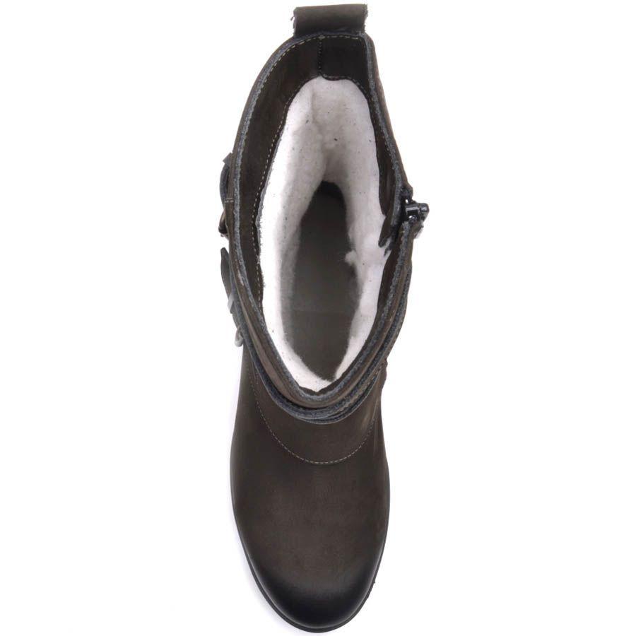 Ботинки Prego зимние из коричневого нубука с декором из пряжек