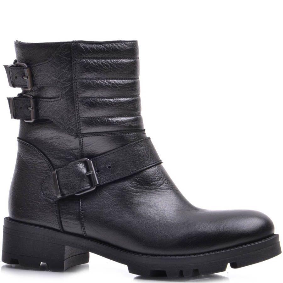 Ботинки Prego зимние черного цвета с тремя декоративными ремешками