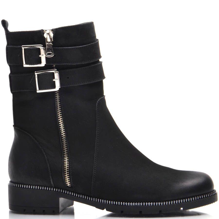 Ботинки Prego зимние черные из нубука на низком ходу с молнией и пряжками