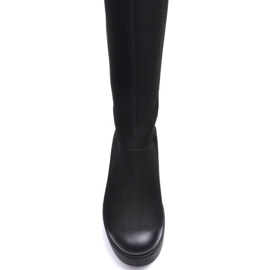 Сапоги Prego зимние из натурального нубука черного цвета на плоском ходу с гладким носочком