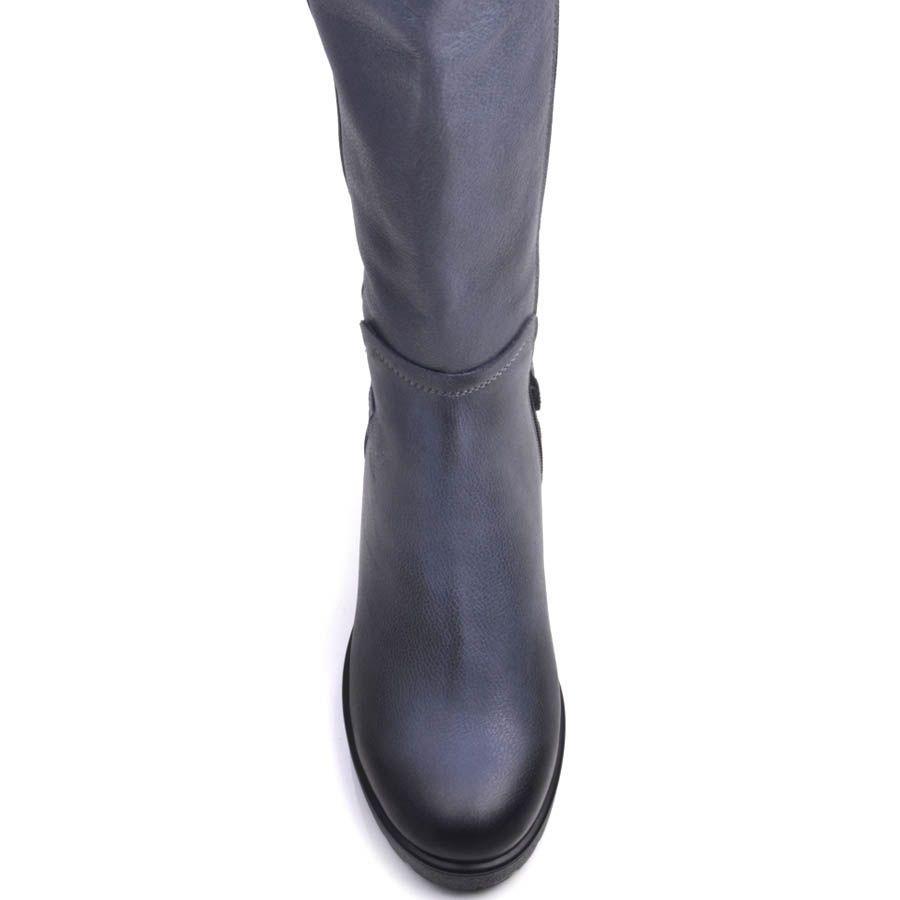 Сапоги Prego зимние синего цвета из кожи с затемнениями на устойчивом каблуке с пряжкой