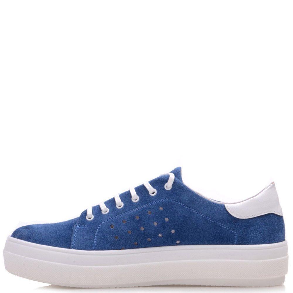 Замшевые кеды Prego синего цвета на белой подошве с перфорацией