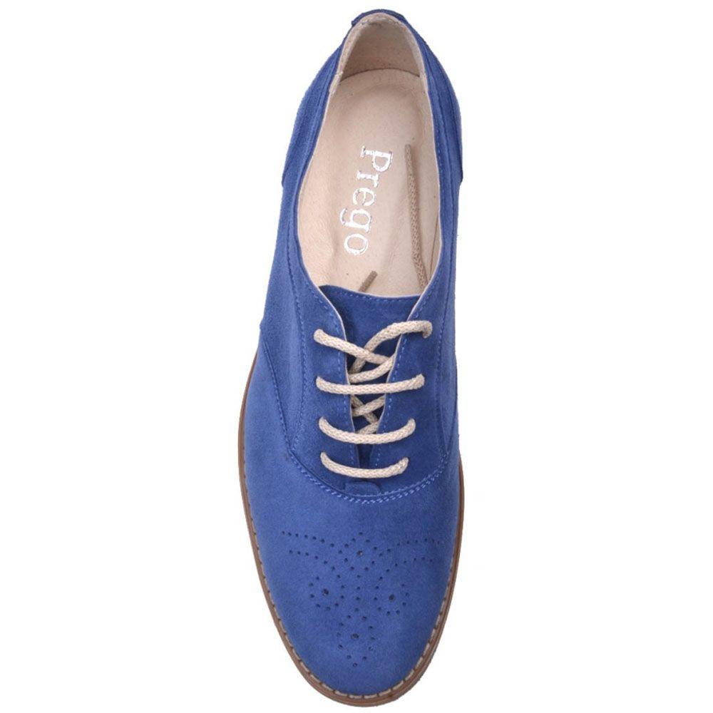 Туфли-оксфорды Prego из натуральной замши насыщено-синего цвета с коричневой подошвой