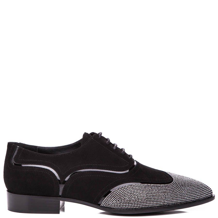 Туфли Giuseppe Zanotti черного цвета из нубука с серебристыми стразами на носке