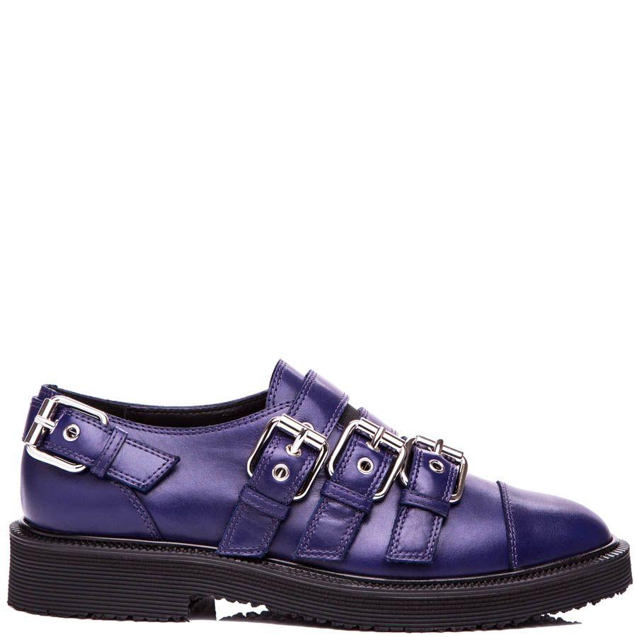 Туфли Giuseppe Zanotti синего цвета с декоративными пряжками