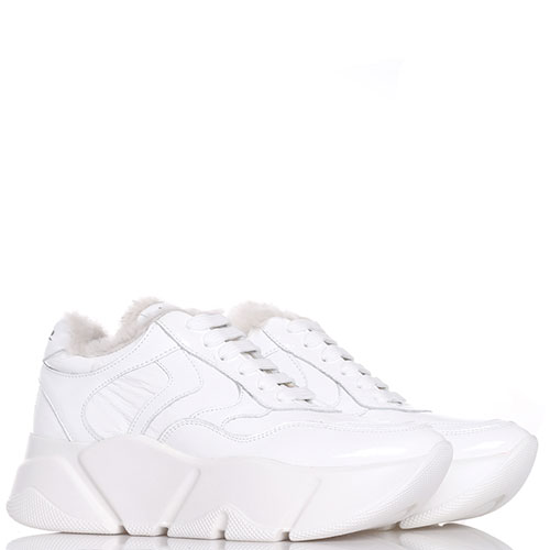 2f71a9a1 ☆ Белые лаковые кроссовки Voile Blanche утепленные мехом купить в ...