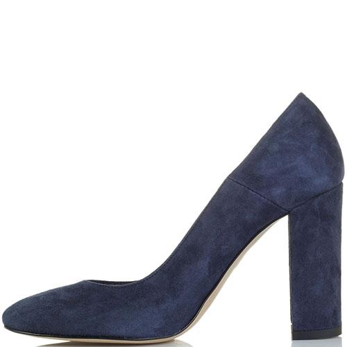Замшевые туфли синего цвета Bianca Di на высоком устойчивом каблуке, фото