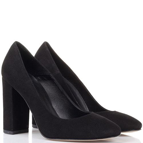 Туфли из замши черного цвета Bianca Di на устойчивом каблуке, фото
