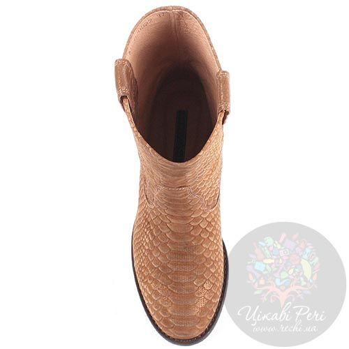 Женские ботинки Modus Vivendi из натуральной кожи коричневого цвета с имитацией кожи питона, фото
